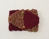 Crochet Cuff Bracelet with Triangles in Wine and Gold