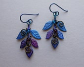 Fairy Leaves Earrings -- Blue and Purple Leaf Sprig Earrings with Antique Brass Wire, Swarovski Crystals -- Hand Inked Brass