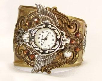 Steam punk Watch Steam punk Jewelry cuff watch bracelet Mens watch Womens Wrist Watches brass cuff Bracelet time lord cuff watch