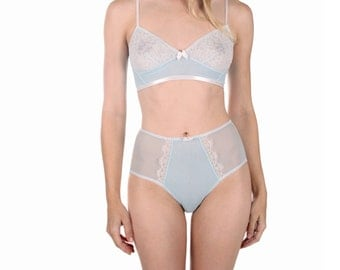 Natalie high-waisted panties- see-through light blue mesh panties in small, medium, large - high waist knickers, sheer luxury lingerie