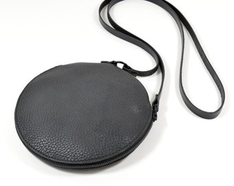 Gemini - Handmade Black Leather Round Shoulder Bag Zip Pouch Purse SC16