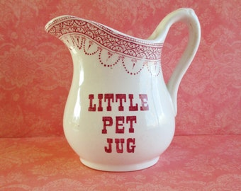 Little Vintage Pet Jug Ironstone Pitcher Royal Crownford