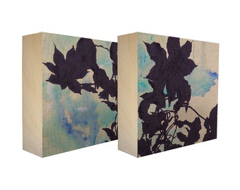 Set of 2 Art Blocks - Limited edition botanical prints on birch panel, plant silhouettes - Free Shipping - Ready to hang - Enchantment