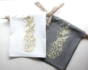 Gray and Gold Pineapple Dish Towel Set of 2 / Gift Set