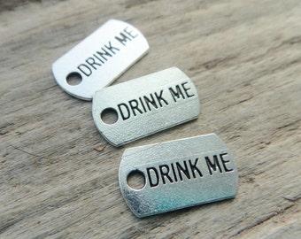 Drink Me Alice in Wonderland Potion bottle Charm, Drink Me Charm, Potion Bottle Charm -10-