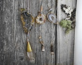 Salt of the Earth // Boho Lariat Agate Druzy Geode Slice Necklace in Silver Plate and mixed metals by Bellalili