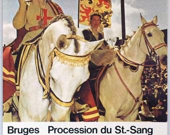 1960s Travel Poster, Bruges Belgium, Original Vintage Lithograph, Poster Art, Middle Ages Religious Parade, Horse Knight, Travel Souvenir