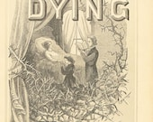 Vintage Religious Antique Print The Dying 1883 Steel Engraving Christian Book Plate