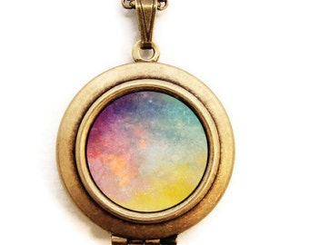 Galaxy Nebula Locket - Lost Stars Constellation Photo Locket Necklace