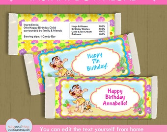 Luau Party large candy wrappers / INSTANT DOWNLOAD Hula girl favors / chocolate wrappers #P-22- large candy wraps - with editable text PDF