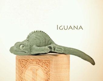 iguana photo, ABC art, toy photo,  child room art, letter art, alphabet photo, alphabet art, nursery art, nursery decor, childs room decor,