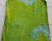 Girl's 8 tropical fern spring green batik tank dress