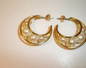 Pearl Hoop Earrings Vintage Gold Hoop Earrings Filled with Pearls on Posts