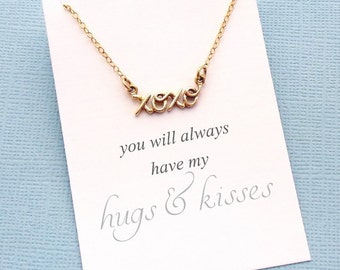 XOXO Necklace | Cursive Necklace | Hugs & Kisses Necklace | Birthday Gift | Gift for Her Mom | Valentine's Day | Silver or Gold | C02