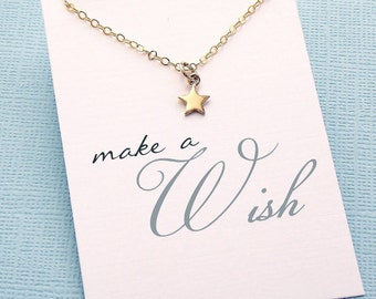 Tiny Star Necklace | Make a Wish | Gift for Her | Stocking Stuffer | Best Friend Necklace | Charm Pendant Necklace | Silver or Gold | X01