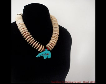 Heartline Bear necklace tongue in chic retro turquoise blue, bone