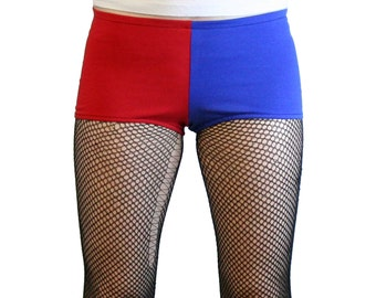 Remarkable Red And Blue Shiny Harley Quinn Booty Shorts Xs S M L Xl 2Xl Short Hairstyles For Black Women Fulllsitofus