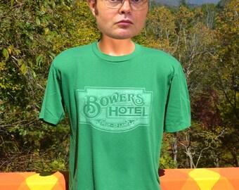 vintage 80s t-shirt BOWERS HOTEL pennsylvania original green tee XL Large soft motel