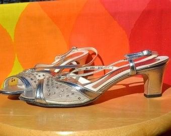 vintage 80s heels peep toe silver RHINESTONE strappy 7 A narrow 3a d'antonio  2.5 inch original box