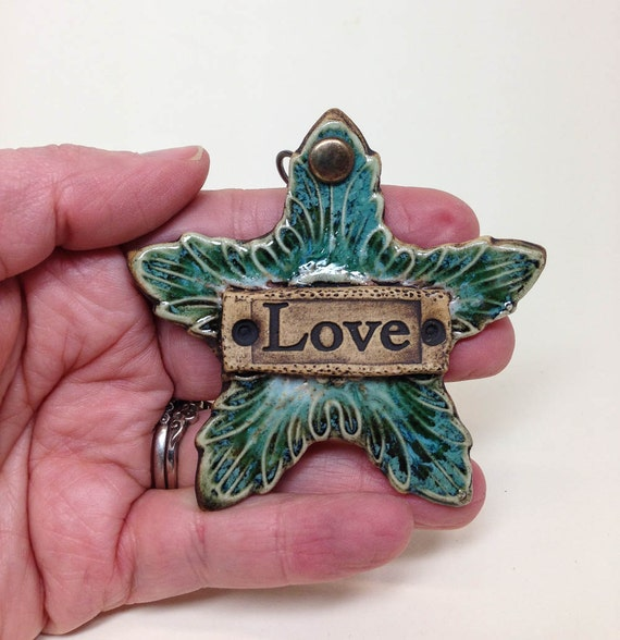Wall Decor With Clay : Ceramic star wall hanging clay love ornament charm