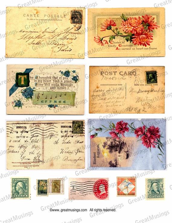 Vintage Postcards Stamps Download Digital Collage Sheet correspondence stamps graphics images No.131