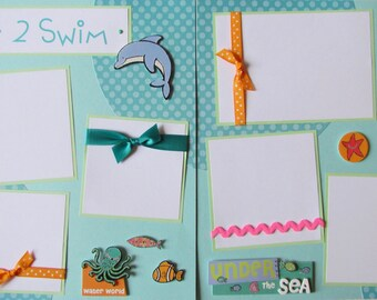Scrapbook Pages - 12x12 premade layout - BoY or GiRL SwiMMinG -- LOVE 2 SWIM -- sea creatures, dolphin, fish, octopus, ocean