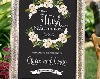 PRINTABLE - A dream is a wish your heart makes, romantic wedding, chalkboard Wedding Sign, Hashtag Sign, Art Deco Wedding