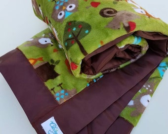 Baby Forest Animals Gender Neutral Minky and Satin Baby Blanket