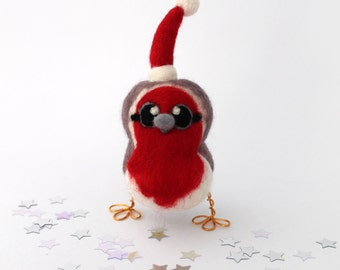 Christmas Robin in Santa Hat Needle Felted Bird