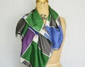 Vintage Echo silk scarf-Geometric scarf-Designer scarf