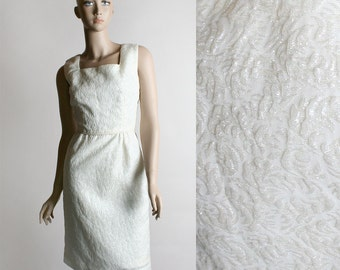 Vintage 1960s Wiggle Dress - White Sparkly Holiday Iridescent Cocktail Dress - Small XS