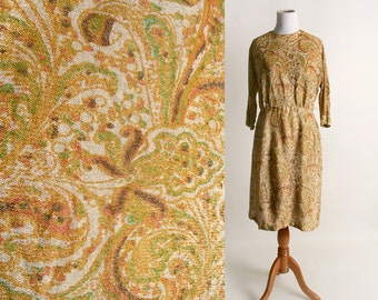 Vintage 1960s Dress - Golden Paisley Floral Lurex Metallic Cocktail Dress - Large