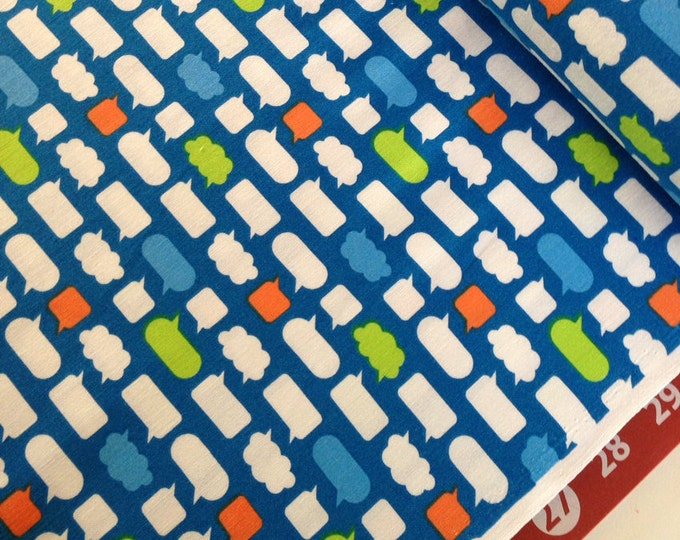 Sale fabric, Blue fabric, Boy fabric, Text fabric, Modern fabric, Teen fabric, Moxie fabric by E McMorris- Chatroom in Royal, Choose the cut