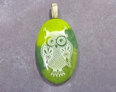 Owl Pendant, Green Oval Pendant with White Owl, Fused Glass Jewelry - Lulu - -6