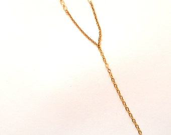 Gold Chain Y Necklace / Gold Rosary Necklace / 14k Gold Filled Long Necklace with Rutilated Quartz Gemstone Pendant / Long Y Chain Necklace