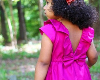 Pink Fuchsia Dress for Toddler and Girl, Birthday, Flower Girl, Special Occasion