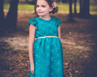 Teal, Turquoise Lace Dress for Toddler and Girl, Special Occasion, Birthday and Flower Girl