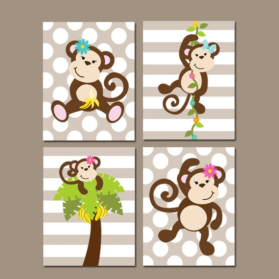 Girl monkey wall art baby girl nursery artwork girl bedroom for Animal themed bathroom decor