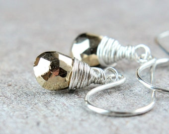 Pyrite  Earrings Sterling Silver Gemstone Jewelry Wire Wrap Fools Gold  Handmade Jewellery Briolette Earrings