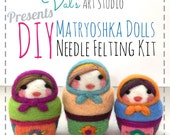 Needle Felting Kit, Russian Matroshka Doll(s), Beginner/Intermediate Level Fiber Art and Instructions Kit, Needle Felting Workshop, Pattern