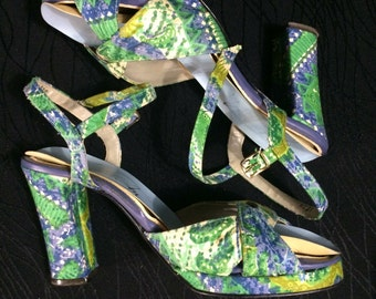 Vintage 60's 70's Thom Mcan heels size 8.5 b Psychedelic Stappy Platform womens ladies shoes RARE