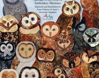Owls with ATTITUDE -- Applique in the Hoop for Embroidery Machines -- Digitized Designs on CD