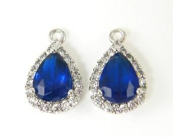 Sapphire Bridesmaid Earring Findings Silver Blue Teardrop Earring Dangles Sapphire Drop Earring Cubic Zirconia Pendant CZ  B4-4 2