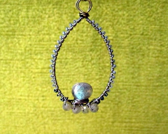 Bronze Wire Wrap Pendant with Labradorite and Glass // necklace boho gypsy beaded chic long brass wirework blue green teardrop briolette