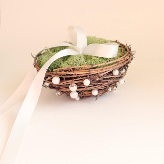 Rustic pearl twig nest, Moss ring bearer pillow, woodland wedding decor - LOVE NEST