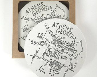 Letterpress Athens, Georgia Map Coasters