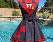 All 4 Houses Harry Potter Inspired Sassy Apron w/ Petticoat, Gryffindor/Slytherin/Ravenclaw/Hufflepuff, Womens, Girls Cosplay Apron Costume