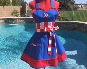 Captain America inspired Sassy Apron, Womens Plus Sizes, Handmade, Full, Kitchen, Retro, Cosplay, Costume Party, Americana, Superhero