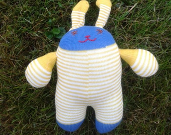 Sock Bunny - Blue and yellow stripes