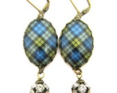 Scottish Tartan Jewelry - Ancient Romance Series - Campbell Clan Tartan Earrings with Rhinestone Studded Charms